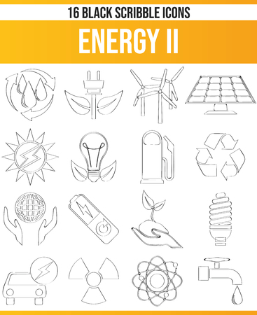 Black pictograms / icons on renewable energy. This icon set is perfect for creative people and designers who need the subject of technology in their graphic design.