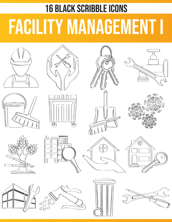 Black pictograms / icons on facility management. This icon set is perfect for creative people and designers who need the subject of trade in their graphic designs.