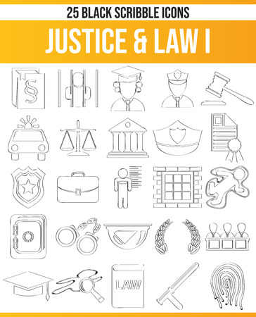 Black pictograms / icons on justice. This icon set is perfect for creative people and designers who need the issue of law in their graphic designs. Ilustração