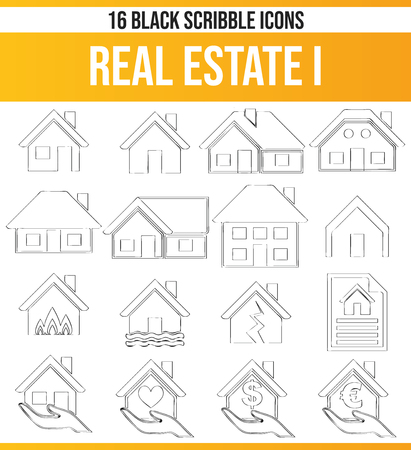 Black pictograms / icons on the subject property. This icon set is perfect for creative people and designers who need the real estate aspect in their graphic designs. Ilustração