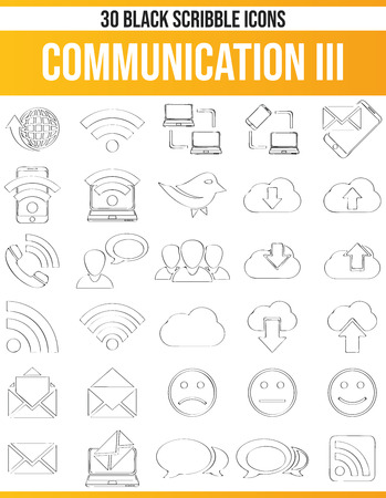 Black pictograms / icons on communication. This icon set is perfect for creative people and designers who need the issue of online communication in their graphic designs. Vettoriali