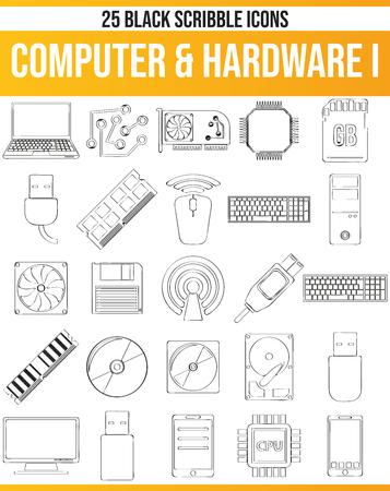 Schwarze Piktogramme/Symbole auf dem Computer. Dieses Icon-Set ist perfekt für Kreative und Designer, die das Hardwareproblem in ihren Grafikdesigns benötigen. Vektorgrafik