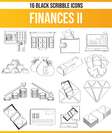 Black pictograms / icons on finances. This icon set is perfect for creative people and designers who need the topic of finance in their graphic designs.
