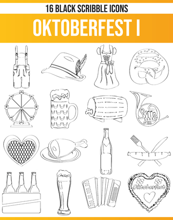 Black pictograms / icons on Oktoberfest. This icon set is perfect for creative people and designers who need the theme of Oktoberfest in their graphic designs.