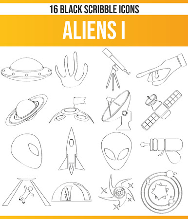 Black pictograms / icons about aliens. This icon set is perfect for creative people and designers who need aliens in their graphic design. Illustration