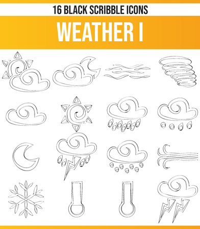 Black pictograms  icons on weather. This icon set is perfect for creative people and designers who need the weather theme in their graphic designs. Illustration