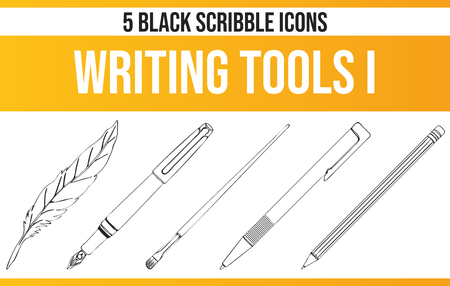 Black pictograms / icons on writing. This icon set is perfect for creative people and designers who need the theme of poetry in their graphic designs. Foto de archivo - 117795290