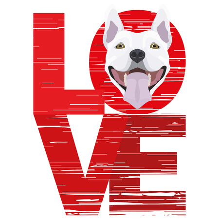 Love Bull Terrier - A dogs head with the word love. The dog is mans best friend and is loved as a pet.