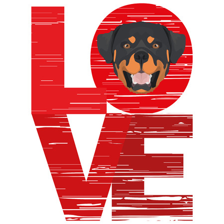 Love Rottweiler - A dogs head with the word love. The dog is mans best friend and is loved as a pet.