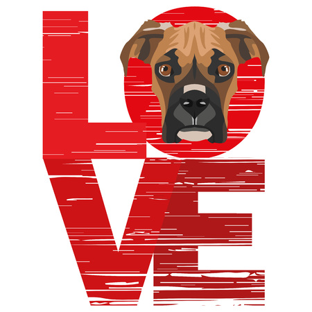 Love Boxer - A dogs head with the word love. The dog is mans best friend and is loved as a pet.