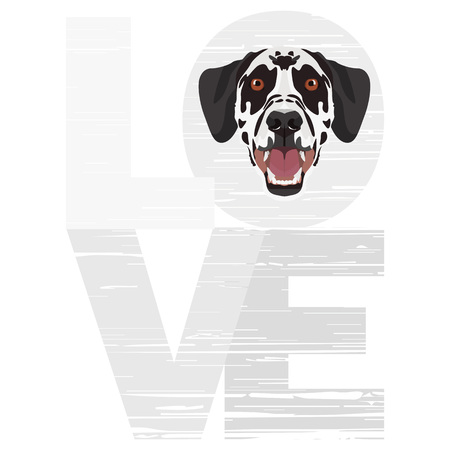 Love Dalmatians -  A dogs head with the word love. The dog is mans best friend and is loved as a pet.