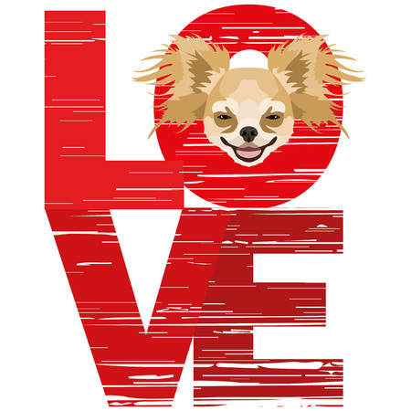 Love Chihuahua - A dogs head with the word love. The dog is mans best friend and is loved as a pet.
