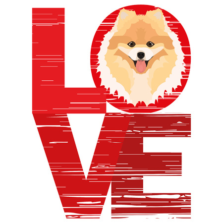 Love Chow - A dogs head with the word love. The dog is mans best friend and is loved as a pet. Ilustração