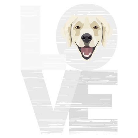 Love Golden Retriever – A dogs head with the word love. The dog is mans best friend and is loved as a pet. Ilustração