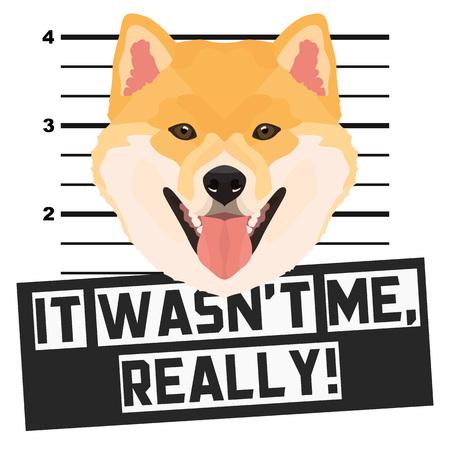 Illustrazione Foto segnaletica Shiba Inu - Il cane colpevole ottiene una foto della polizia. Gli amanti dei cani e i fan dei cani adorano il loro cane impertinente. Vettoriali