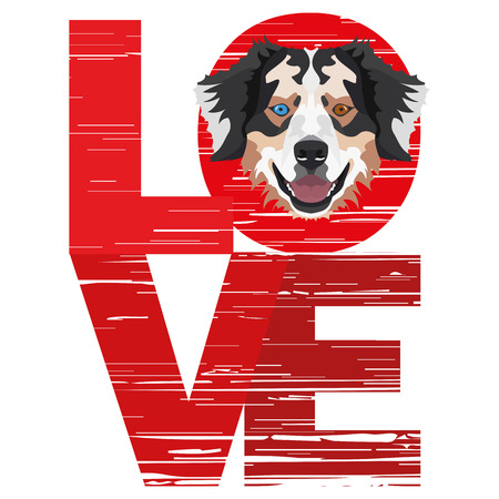 Love Australian Shepherd - A dog's head with the word love. The dog is man's best friend and is loved as a pet.