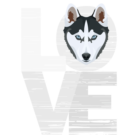 Love Husky - A dogs head with the word love. The dog is mans best friend and is loved as a pet. Ilustração