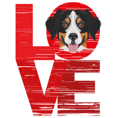 Love Bernese Mountain Dog - A dog's head with the word love. The dog is man's best friend and is loved as a pet.