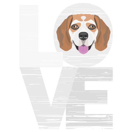 Love Beagle - A dogs head with the word love. The dog is mans best friend and is loved as a pet. Ilustração