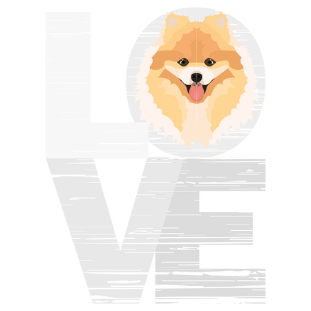 Love Chow – A dogs head with the word love. The dog is mans best friend and is loved as a pet.