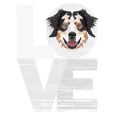 Love Australian Shepherd - A dogs head with the word love. The dog is mans best friend and is loved as a pet.