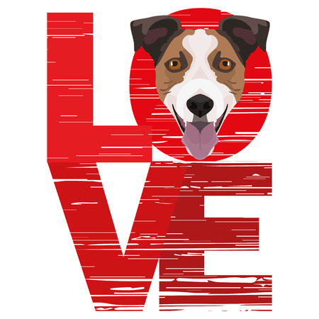 Love Jack Russell Terrier - A dogs head with the word love. The dog is mans best friend and is loved as a pet. Ilustração