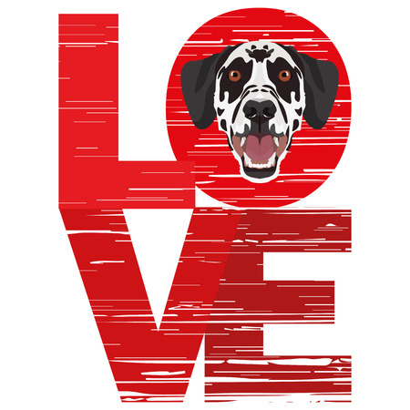 Love Dalmatians - A dogs head with the word love. The dog is mans best friend and is loved as a pet. Ilustração