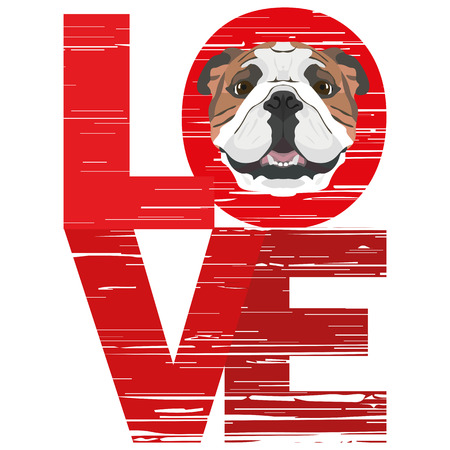 Love English Bulldog - A dogs head with the word love. The dog is mans best friend and is loved as a pet. Ilustração