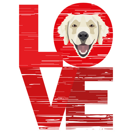Love Golden Retriever - A dog's head with the word love. The dog is man's best friend and is loved as a pet.