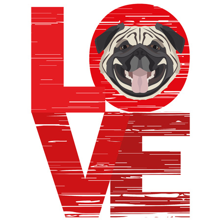 Love Pug - A dogs head with the word love. The dog is mans best friend and is loved as a pet. Ilustração