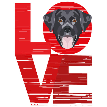 Love Labrador - A dogs head with the word love. The dog is mans best friend and is loved as a pet. Ilustração