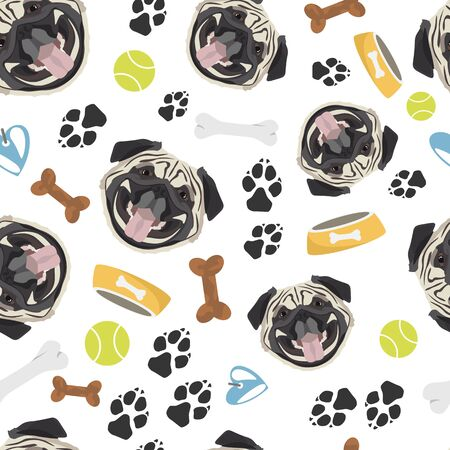 Smiling Dog Pug - Seamless pattern with playful illustration of a dog and paw prints. The smiling dog is a great gift for dog owners. Ilustração