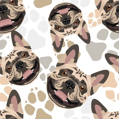 Pattern Dog Paws French Bulldog - Seamless pattern with playful illustration of a dog and paw prints. The smiling dog is a great gift for dog owners.
