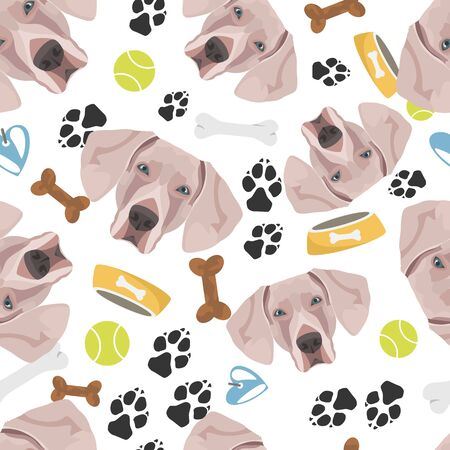 Smiling Dog Weimaraner - Seamless pattern with playful illustration of a dog and paw prints. The smiling dog is a great gift for dog owners.