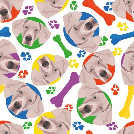 Colorful and playful Weimaraner - Seamless pattern with playful illustration of a dog. The smiling dog is a great gift for dog lovers and dog owners. Illustration