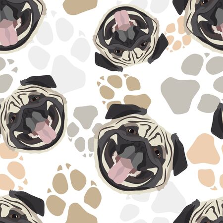 Pattern Pug Dog paws - Seamless pattern with playful illustration of a dog and paw prints. The smiling dog is a great gift for dog owners.