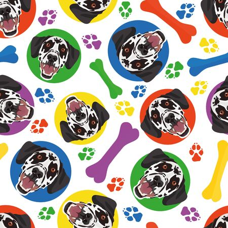 Colorful and playful Dalmatian - Seamless pattern with playful illustration of a dog. The smiling dog is a great gift for dog lovers and dog owners.