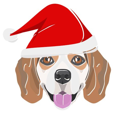 Beagle with Santa Hat - This cheerful dog is properly contemplative through his Santa hat. A Christmas motive for dog owners.