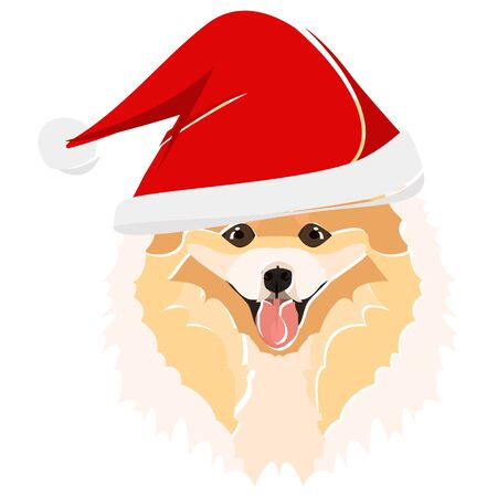 Chow Chow with Santa Hat - This cheerful dog is properly contemplative through his Santa hat. A Christmas motive for dog owners.