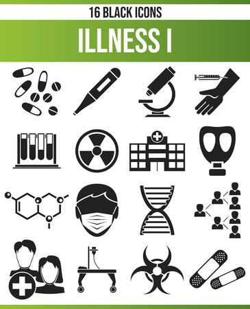 Black icons, or icons on the disease. This icon set is perfect for creative people and designers who need the theme of disease in their graphic designs.