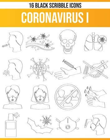 Black icons, or icons on coronavirus. This icon set is perfect for creative people and designers who need the subject virus and coronavirus in their graphic designs. Vettoriali