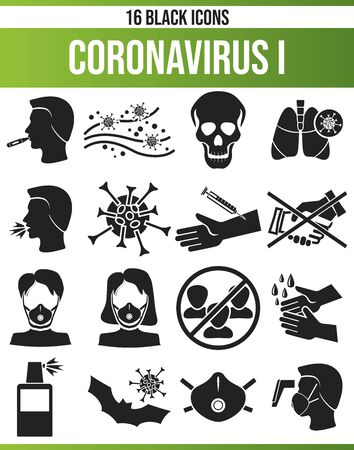 Black icons, or icons on coronavirus. This icon set is perfect for creative people and designers who need the subject virus and coronavirus in their graphic designs. Archivio Fotografico - 144211874