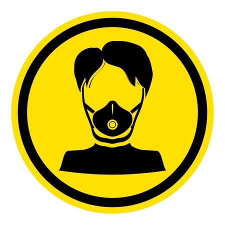 The graph shows a warning sign respirator. The illustration is perfect for graphic designs that have the theme pandemic, epidemic and viruses. Vettoriali