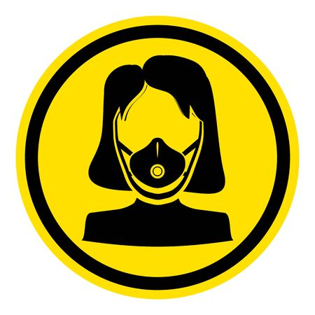 The graph shows a warning sign respirator. The illustration is perfect for graphic designs that have the theme pandemic, epidemic and viruses. Archivio Fotografico - 144211883