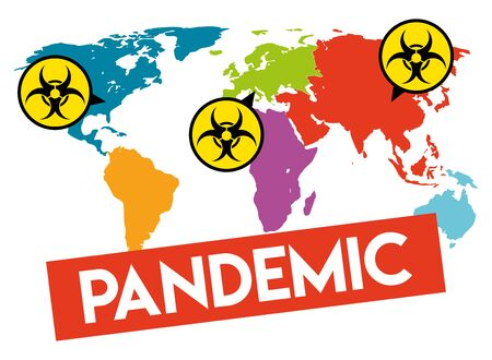 The graph shows a world map with a deadly epidemic. The illustration is perfect for graphic designs that have the theme pandemic. The graph of a worldwide outbreak.