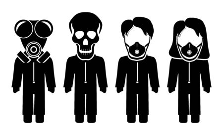 The graph shows four icons at a deadly epidemic. The illustration is perfect for graphic designs that have the theme pandemic. The graph of four stick figures.