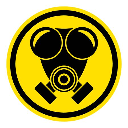 The graph shows a warning sign gas mask. The illustration is perfect for graphic designs that have the theme pandemic, epidemic and viruses. Vettoriali