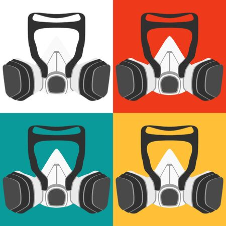 A graphic of a respirator used on construction sites or in hospitals. The mask keeps out all viruses, bacteria and pollutants.
