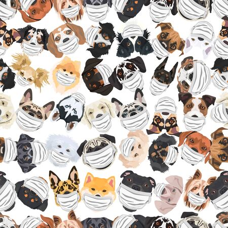 Illustration and seamless pattern of dogs with respirator. At this time of the pandemic, the design is a nice graphic for fans of dogs. Archivio Fotografico - 145746743