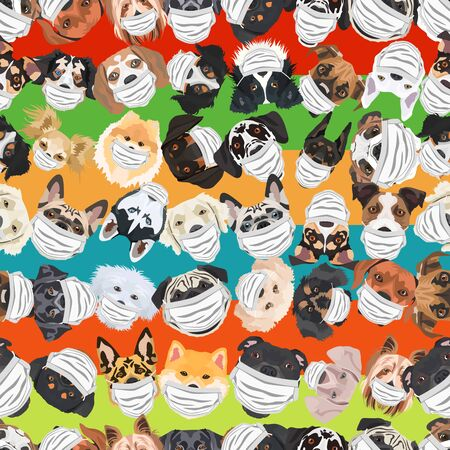 Illustration and seamless pattern of dogs with respirator. At this time of the pandemic, the design is a nice graphic for fans of dogs. Archivio Fotografico - 145746745